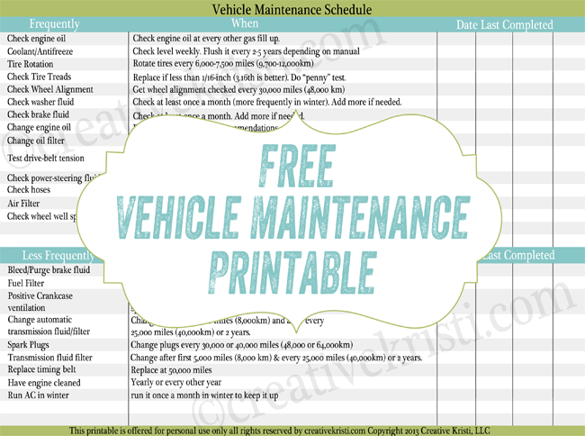 free routine car maintenance printable excellent to add to your