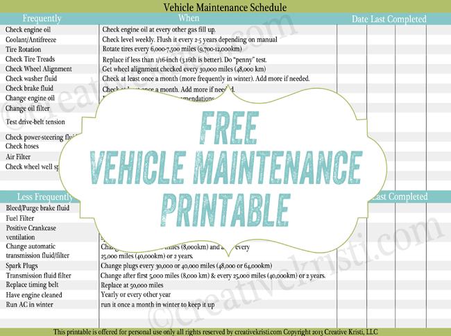 Free Printable Vehicle Maintenance Schedule Printables Pinterest