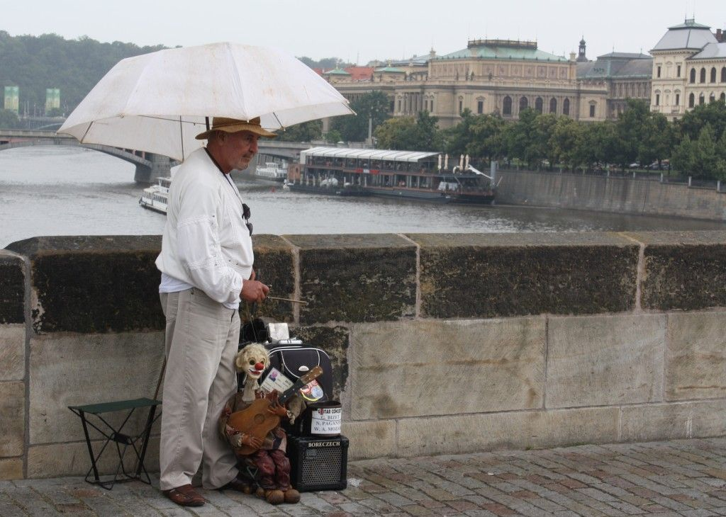 A very skilled puppeteer on the Charles bridge in Prague. It's full of buskers and performers - free entertainment!