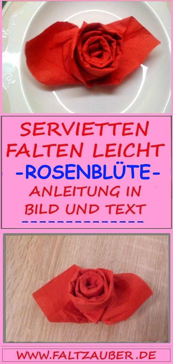 � Servietten falten Anleitung Blume Rose �