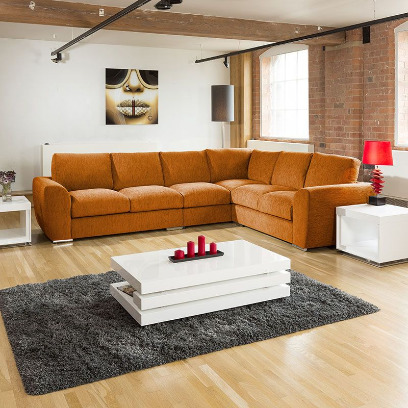 Extra Large L Shape Sofa Set Settee Corner Group 335x265cm Orange L L Shape Sofa Set L Shaped Sofa Sofa Set