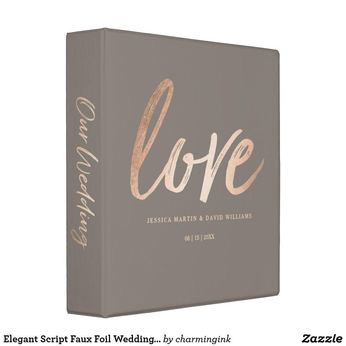 Elegant Script Faux Foil Wedding Organizer 3 Ring Binder