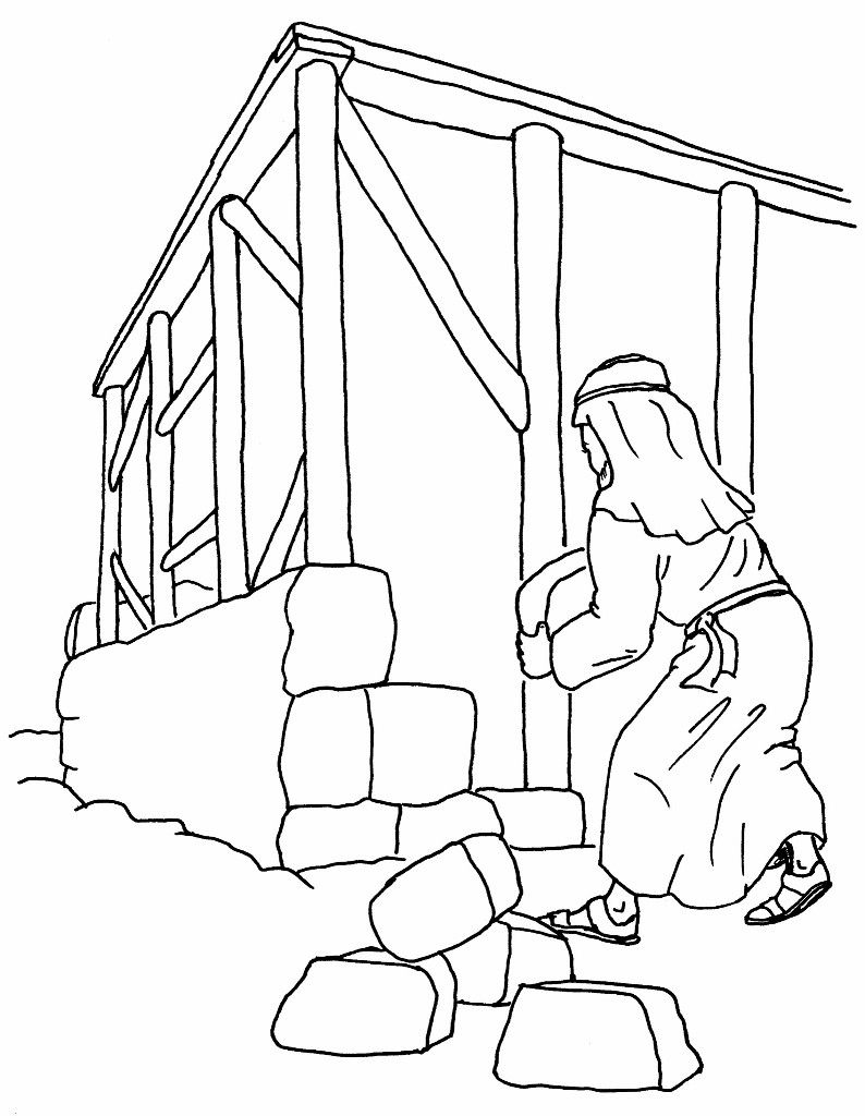 Building bible coloring pages christian school house on the rock story house
