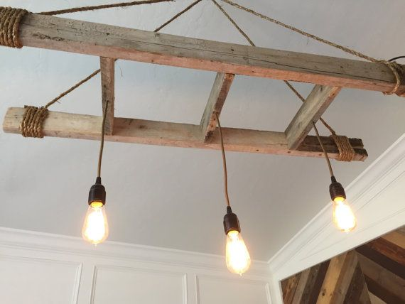 Pendants hanging from rustic wood ladder. Custom sizes, # of pendants,  colors, - Pendants Hanging From Rustic Wood Ladder. Custom Sizes, # Of