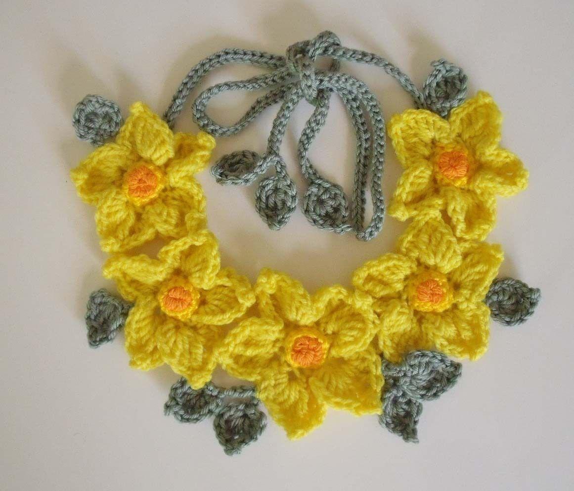 PDF Pattern Free form Crochet necklace Yellow by FiBreRomance ...