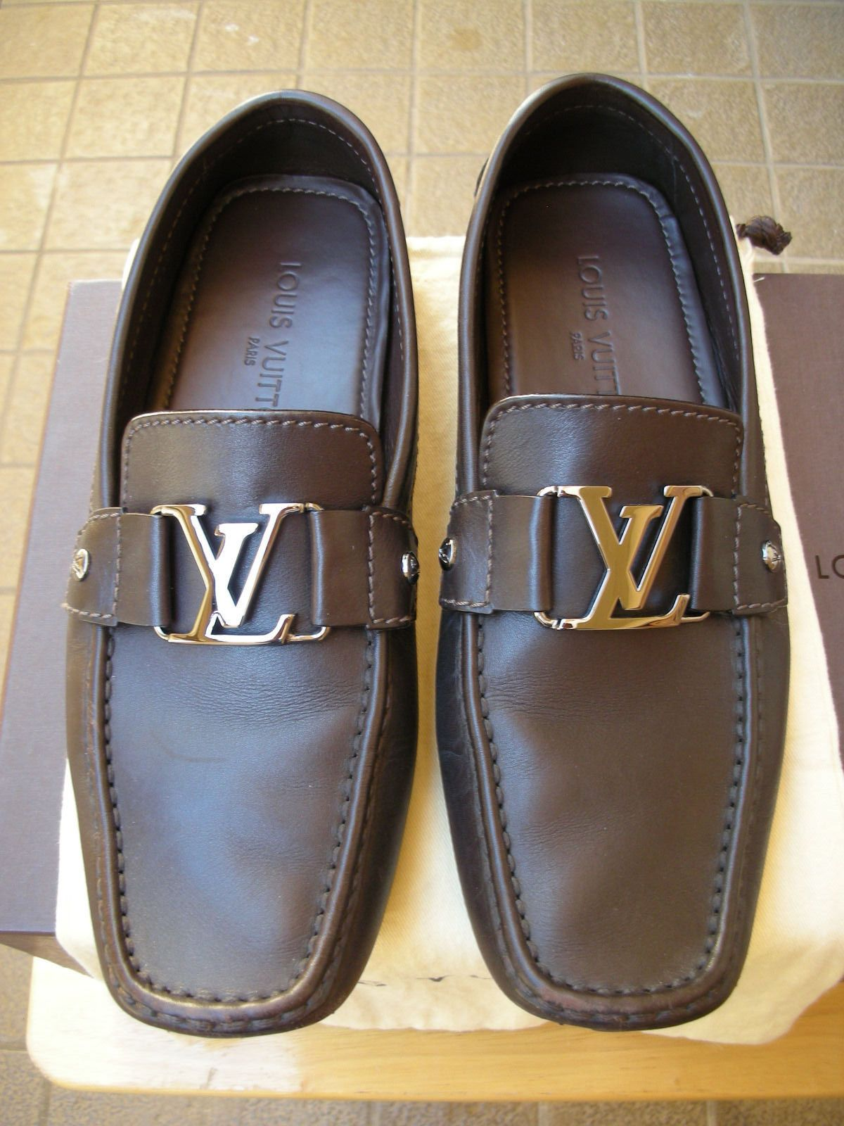 eea5a763a07f MEN S LOUIS VUITTON MONTE CARLO LOAFER SHOES BROWN LEATHER SIZE (8.5  US)(7.5 LV)
