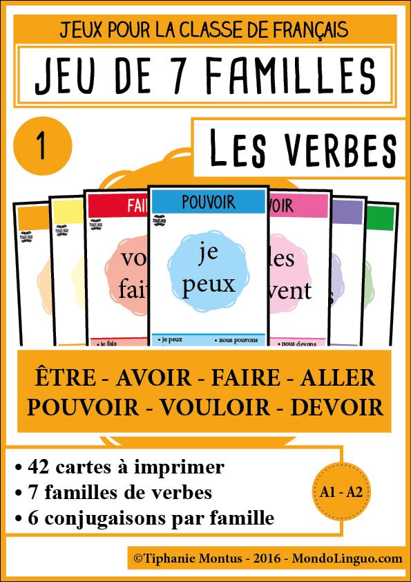 7f Les Verbes 1 Mondolinguo Francais France Conjugaison Classe De Francaise