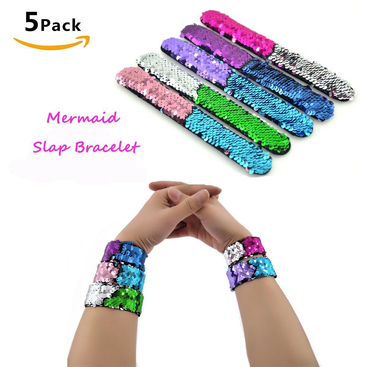 Slap bracelets color decorative charm reversible sequin mermaid
