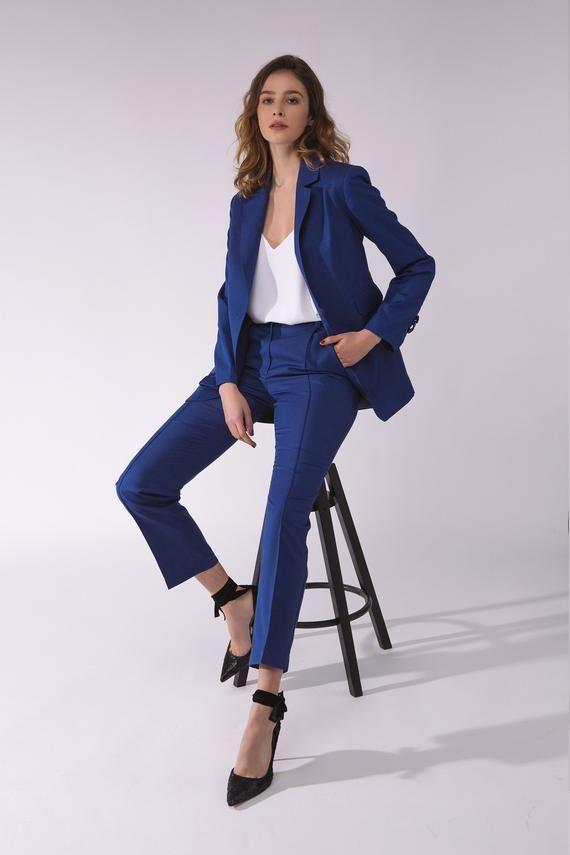 Blue wool business attire suit Wool business blazer Wool long blazer Womens pant suit Wool blue pant #businessattire
