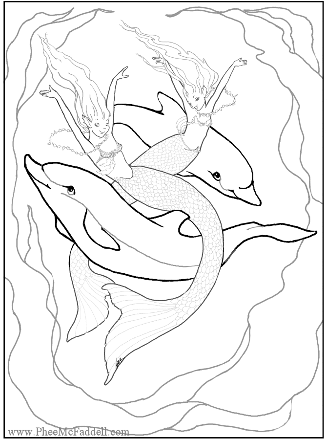 mermaid and dolphin coloring page Coloring pages