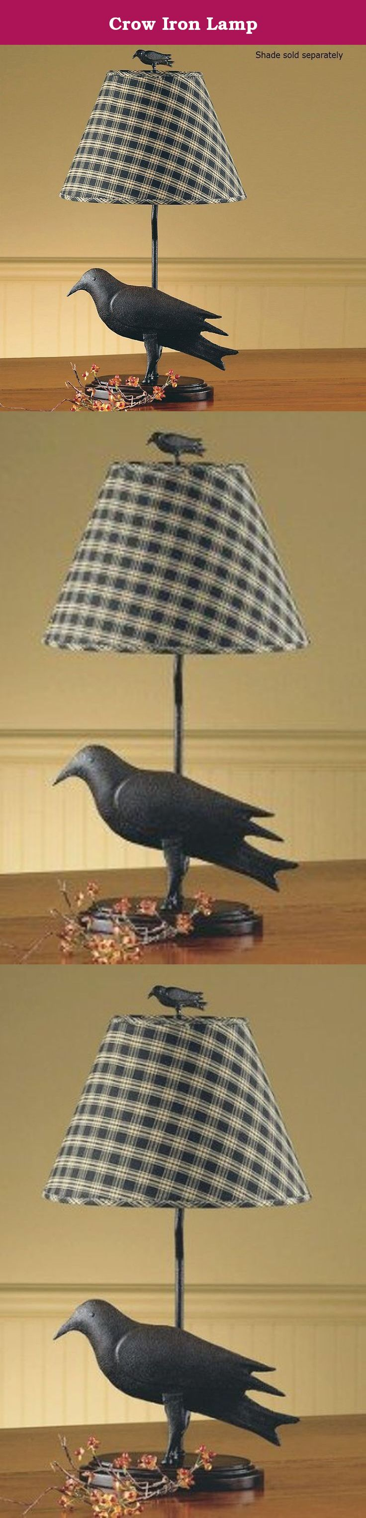 """Crow Iron Lamp. Crow Iron Lamp 20-1/2"""" Tall x 8-1/4"""" Wide x 5-1/4"""" Deep (w/ crow finial) Priced and sold individually Shown with 12"""" Shade (sold separately), 60 Watt bulb Designed and manufactured by Park Designs."""