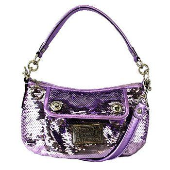 NEW AUTHENTIC COACH POPPY SEQUIN GROOVY OCCASIONAL EVENING CONVERTIBLE BAG  (Lilac Silver) 87c499bc18