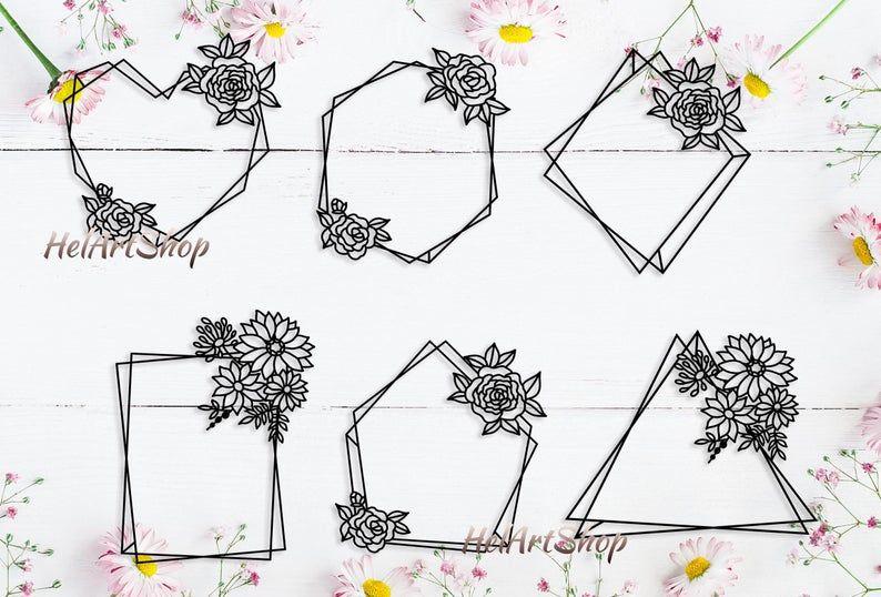 Geometric frame svg floral frames svg circle monogram svg