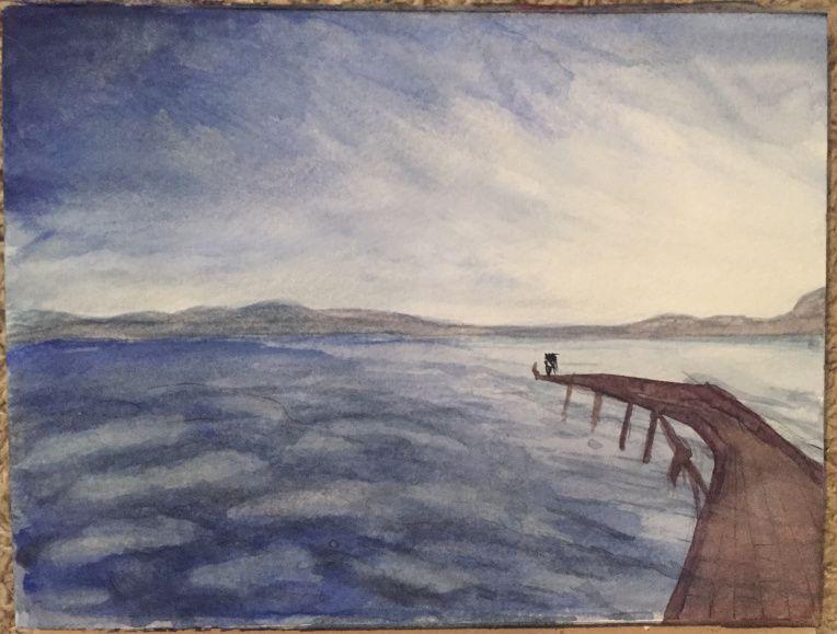 Eternal Reflection by @MissAesha on Instagram - #doodlewash #watercolor #landscape