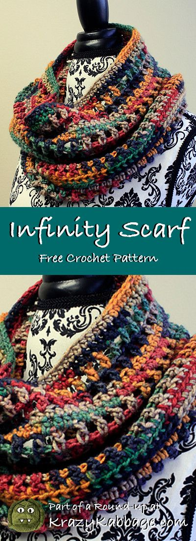 Infinity Scarf Free Crochet Patterns – Krazy Kabbage #crochet #freecrochetpattern #infinityscarf #fall #winter #style #crochet #free #pattern #fashion #women #giftideas #crochetscarves