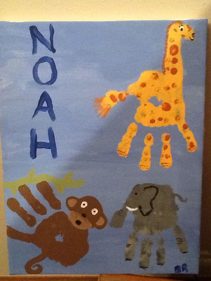 Diy Canvas painting, acrylic paints child handprint, giraffe, monkey ...