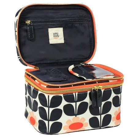 Travel In Style With This Orla Kiely Spring Bloom Vinyl Luggage Cosmetic Bag Ruby Eye Catching Colours Print Is Seen Here
