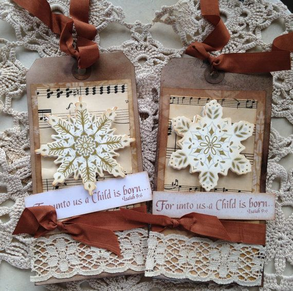 Christmas Tags Primitive Tags Snowflakes by SweetLibertyBarn