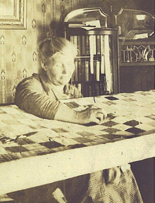 American Civil War Art -                                                              Quilting at a quilting frame. I remember the hooks in the ceiling of my grandmother's house from which she hung her quilting frame.