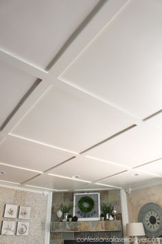 Faux Coffered Ceiling Diy Home Pinterest Popcorn