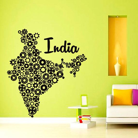 Wall Decal Vinyl Sticker India Map From Gears Art By VinylDecalsU - Wall decals india