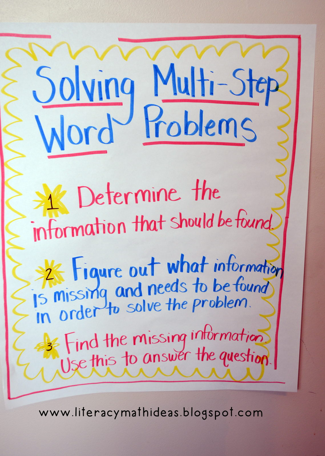 Literacy Amp Math Ideas How To Solve Multi Step Word