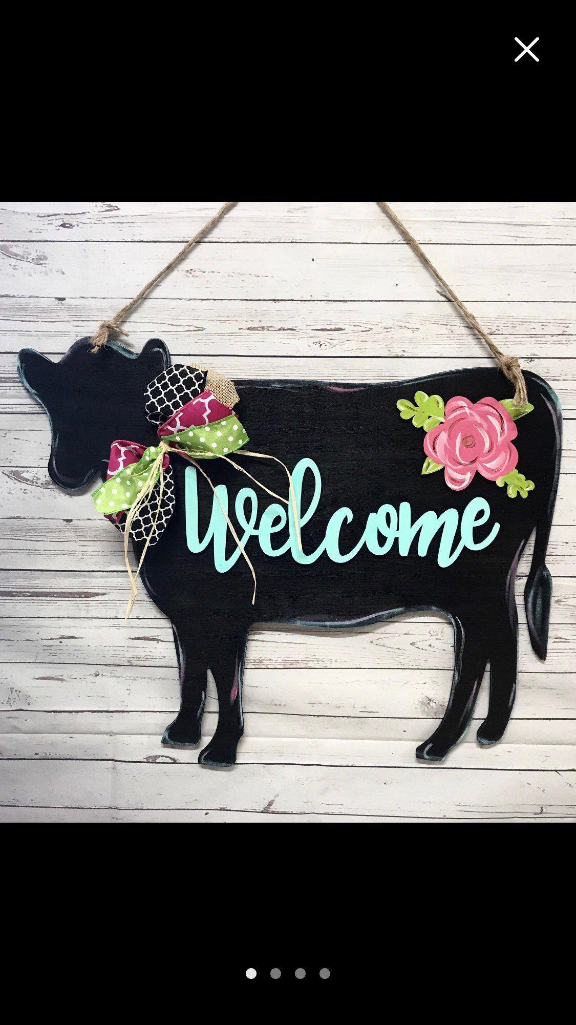 Photo of Cow floral door hanger, gift idea, farm animals
