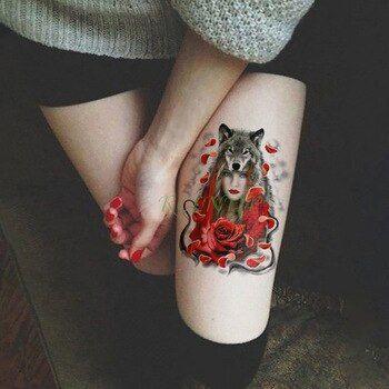 Waterproof Temporary Tattoo Sticker Cool wolf Rose fake tatto flash tatoo tatoua Waterproof Temporary Tattoo Sticker Cool wolf Rose fake tatto flash tatoo tatoua