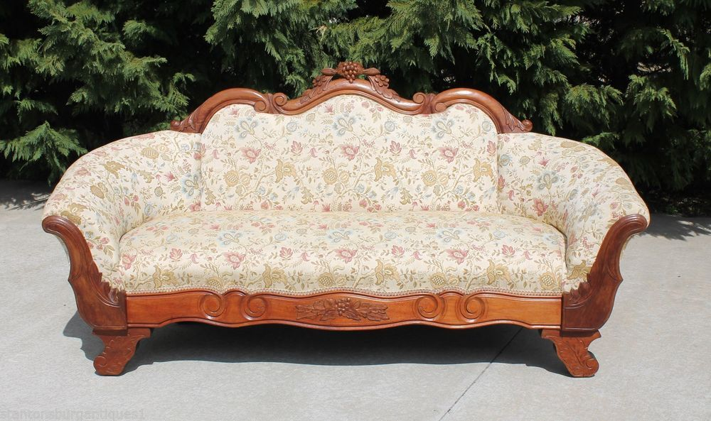 Transitional American Empire Victorian Walnut Sofa
