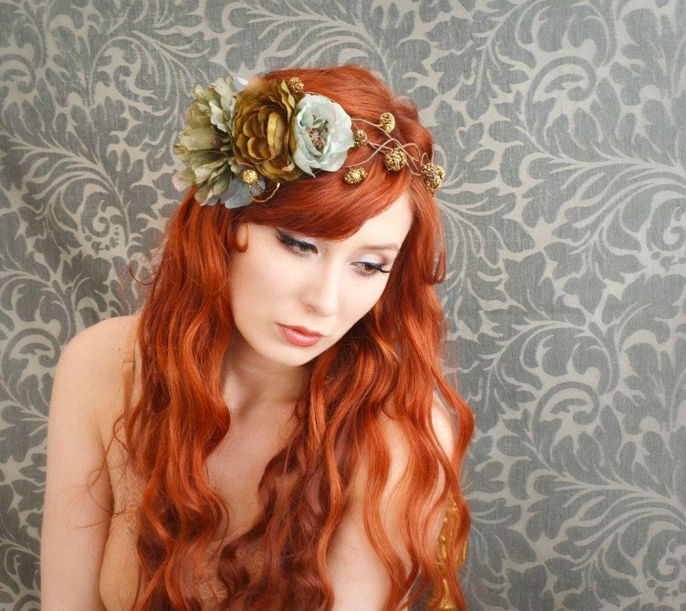 Floral Headband Teal Flower Crown Pine Cone Headpiece Hair