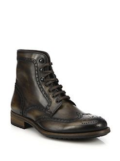 Saks Fifth Avenue Collection - Saks Fifth Avenue by Magnanni Tumbled Calf Wingtip Ankle Boots