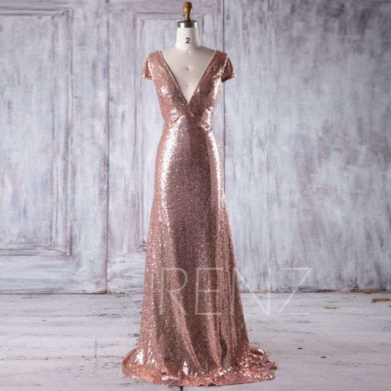 2017 Rose Gold Sequin Bridesmaid Dress Train, Sexy Deep V Neck ...