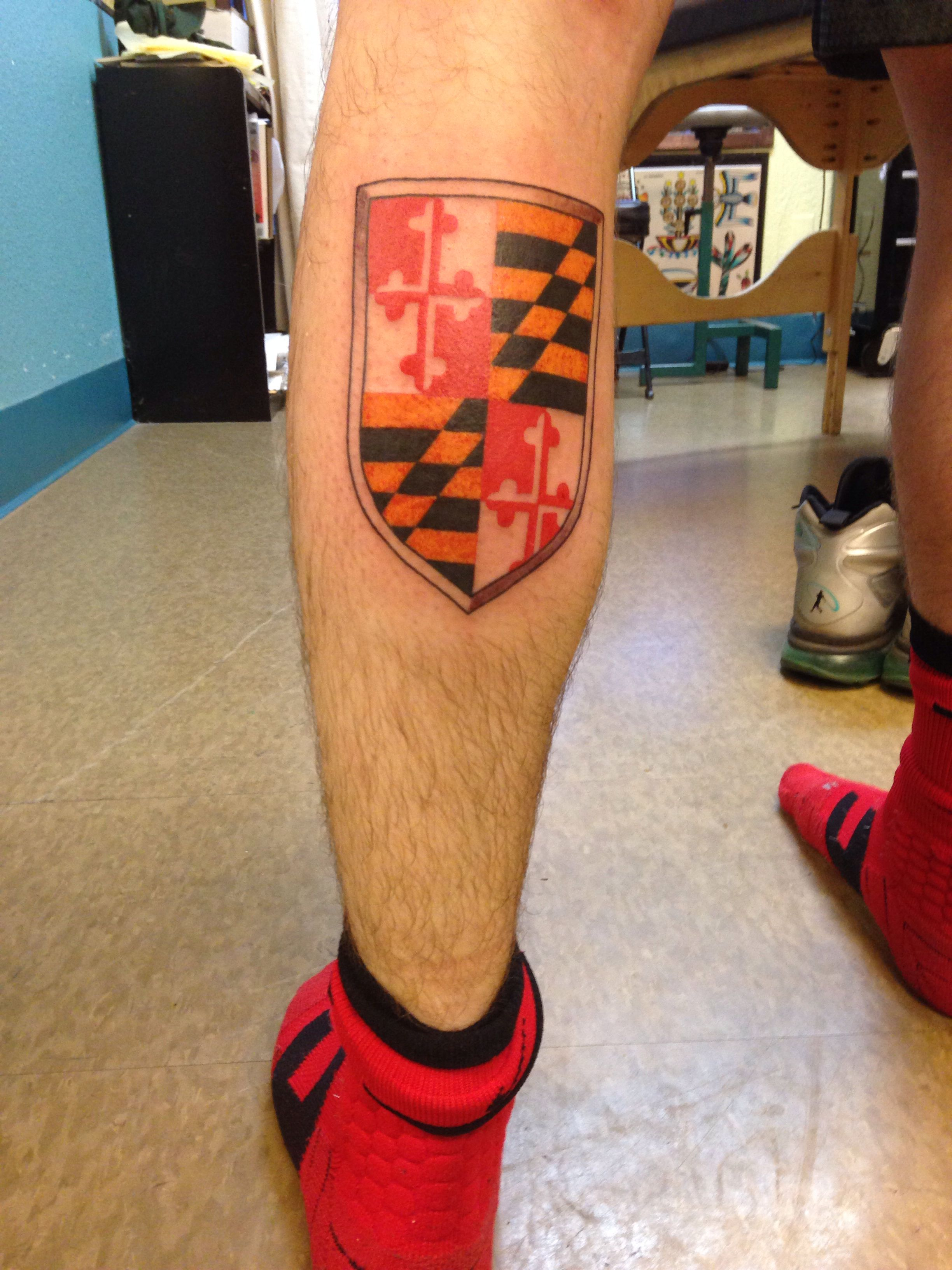Maryland Flag Tattoo Flag Tattoo Tattoos Leaf Tattoos