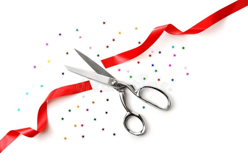 Grand Opening Illustrated With A Scissors A Red Ribbon And Confetti On A White Sponsored Illustrated Grand Opening Product Launch Grand Opening Party