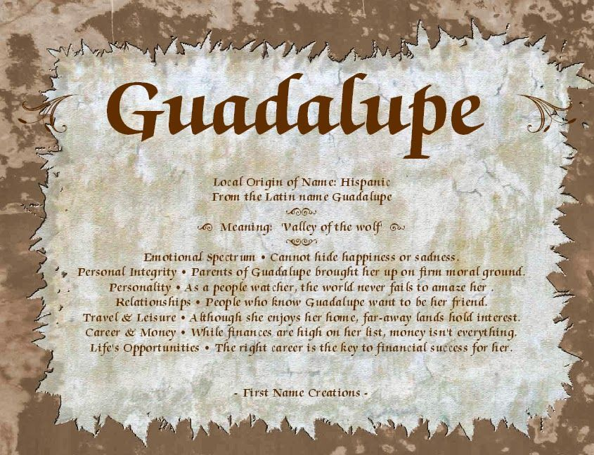 Guadalupe name meaning Names with meaning, Names, Meant