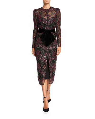 B56A2 Monique Lhuillier Floral Sequined Tulle Dress