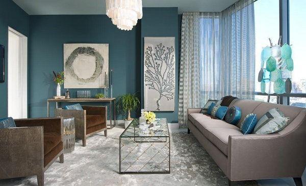 ide dco salon bleu nuit - Salon Bleu Turquoise Et Marron