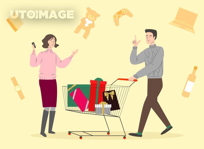 새해쇼핑라이프001 Sill386 유토이미지 일러스트 크리스마스 성탄절 신년 새해 설 추석 명절 기념일 사람 동양인 어른 남자 여자 오프라인 상품 쇼핑정보 가격비교 가격 비교 제품 핫딜 기획전 물건 상점 십일절 쇼핑