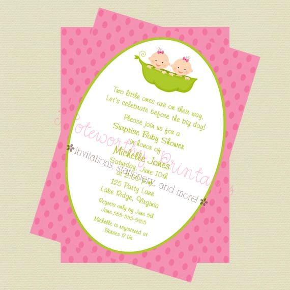 Two peas in a pod twin girls baby shower invitationtwin girls baby printable two peas in a pod twin girls by noteworthyprintables 1000 filmwisefo