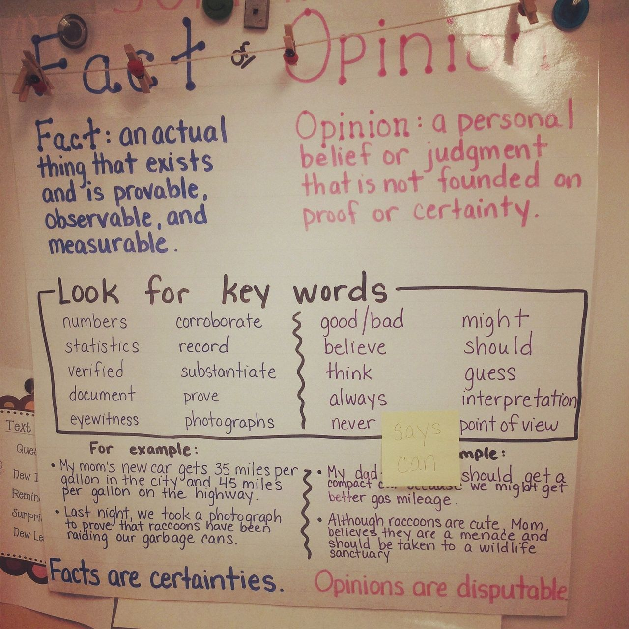 Fact Or Opinion Anchor Poster For 3rd Graders Russell