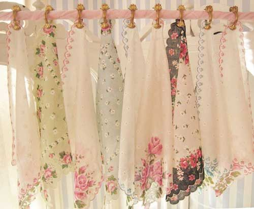Great Idea For Shabby Chic Curtain Topper Using Hankerchiefs