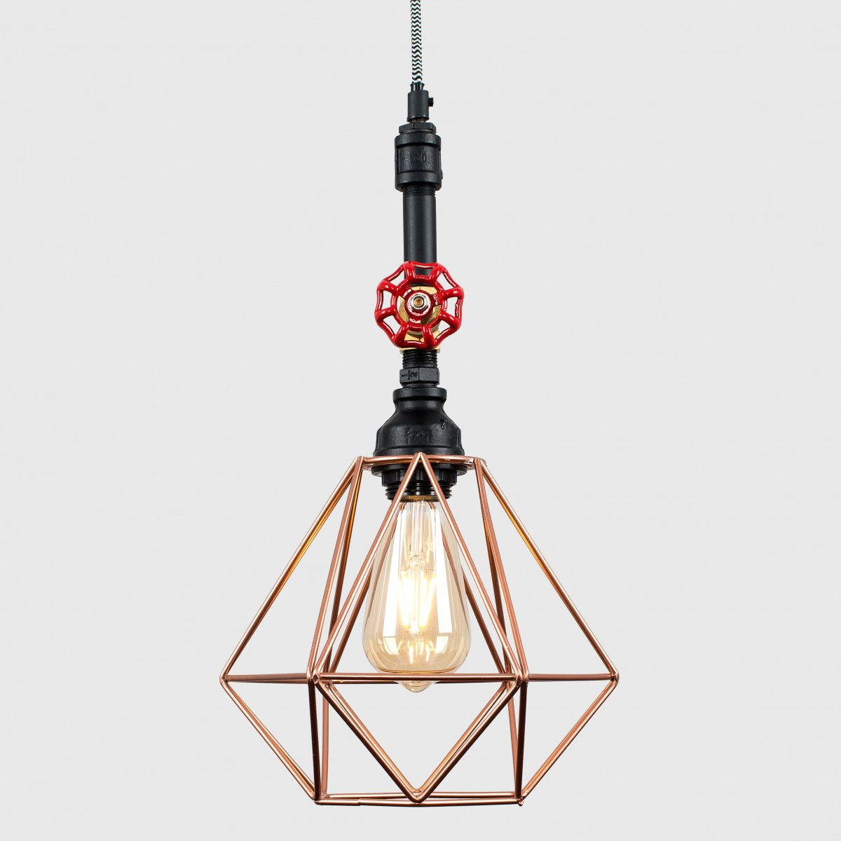 iconic lighting. Mario Black Steampunk Pipe Pendant Light With Copper Geometric Shade Iconic Lighting G