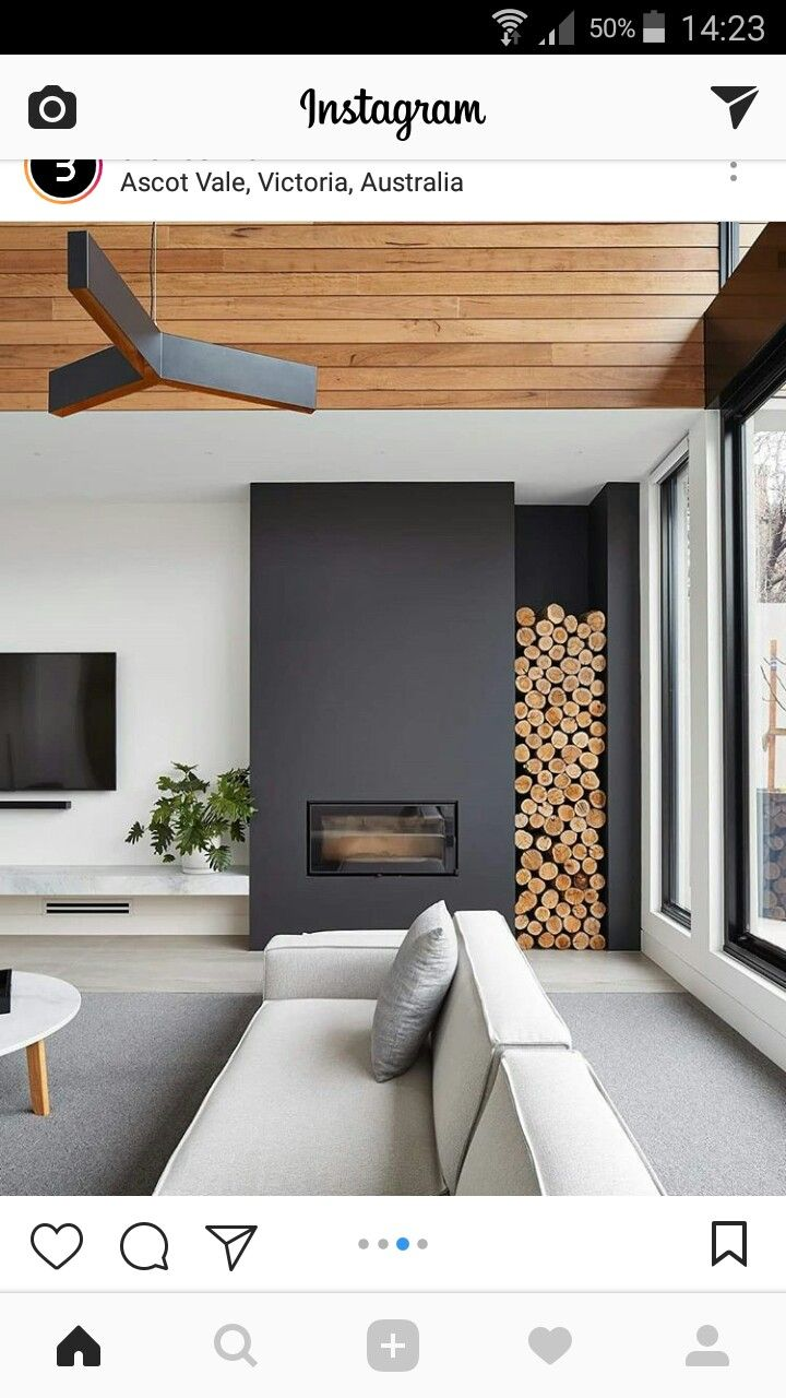 It Is Possible To Put The Tv And Stove On The Same Wall So We Could Use The Other Wall For Our Big Fedyc Huis Interieur Woonkamer Ontwerpen Woonkamer Openhaard