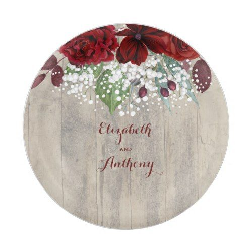 Baby\'s Breath and Burgundy Flowers Rustic Wedding Paper Plate ...