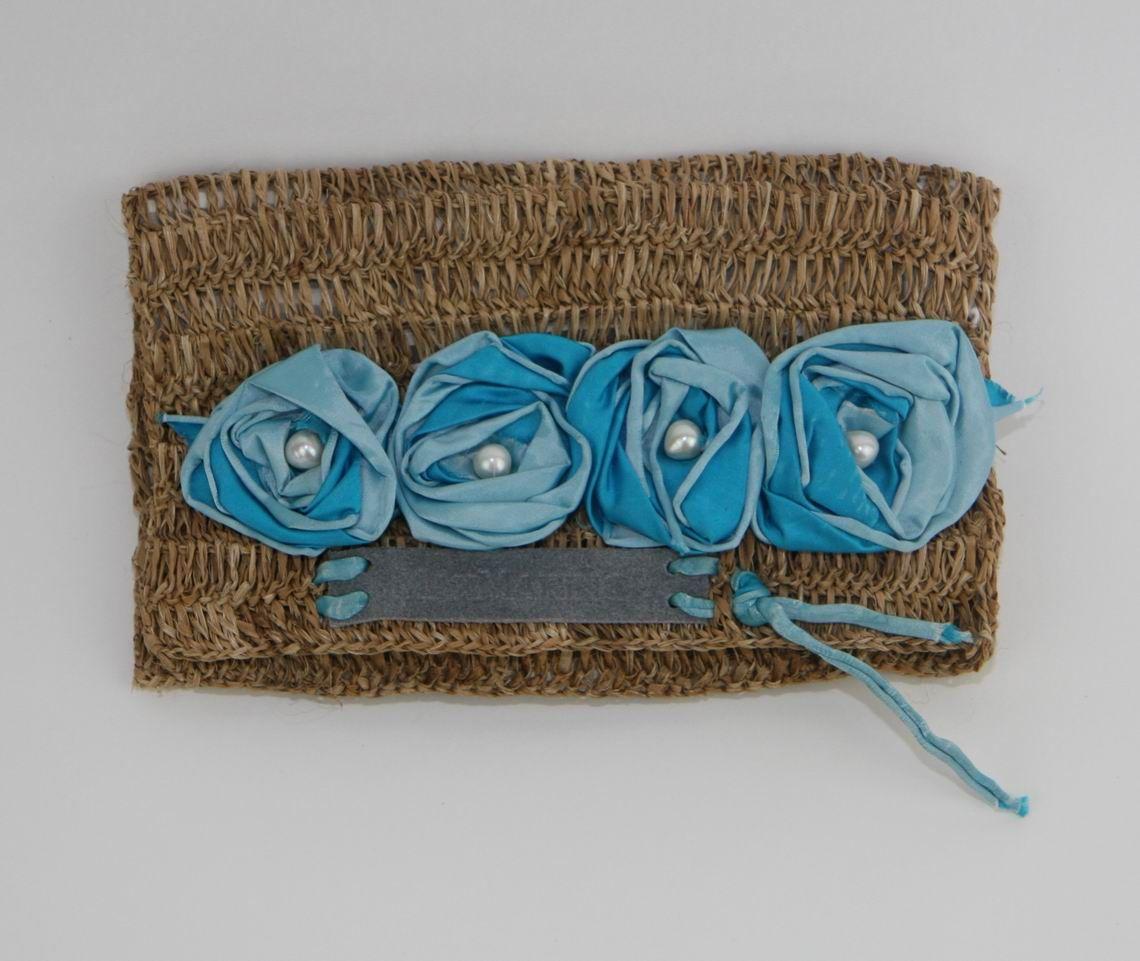 Clutch Banana Fibre Blue Roses & Pearls   MaxMarino