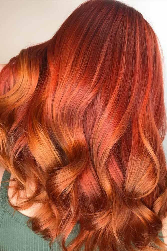Hair Color 2017 2018 Golden Copper Highlights Redhair Wavyhair