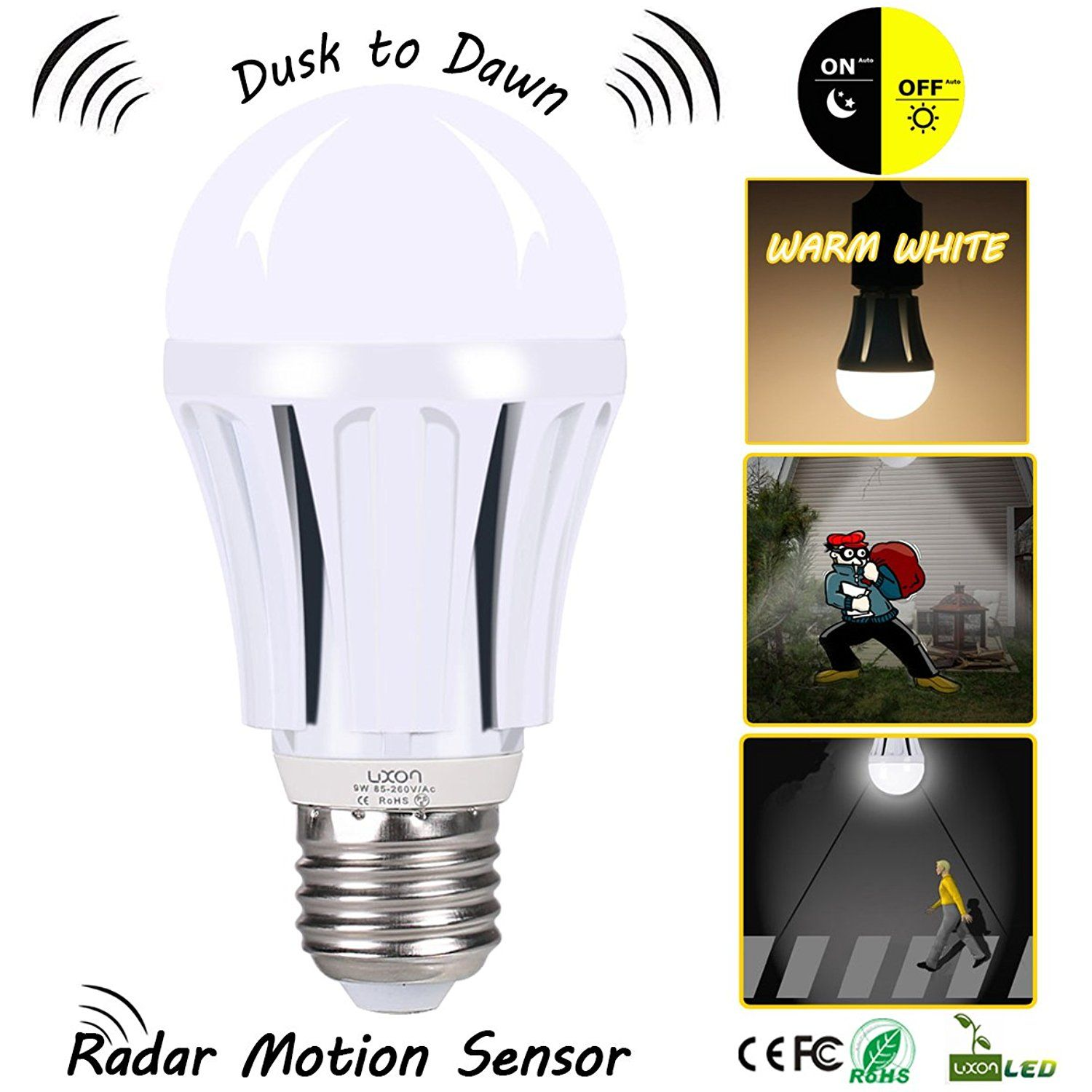 Dusk To Dawn Led Motion Sensor Light Bulb 100 Watt Equivalent 9w A19 E26 Radar Led Sensor Night Light Motion Sensor Lights Sensor Night Lights Motion Sensor