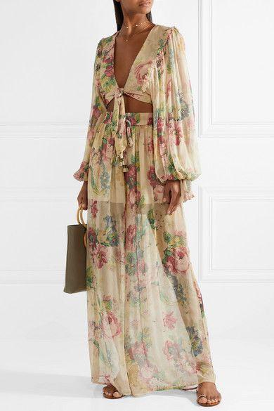 65992a567468 Zimmermann - Melody Floral-print Silk-crepon Wide-leg Pants - Beige ...