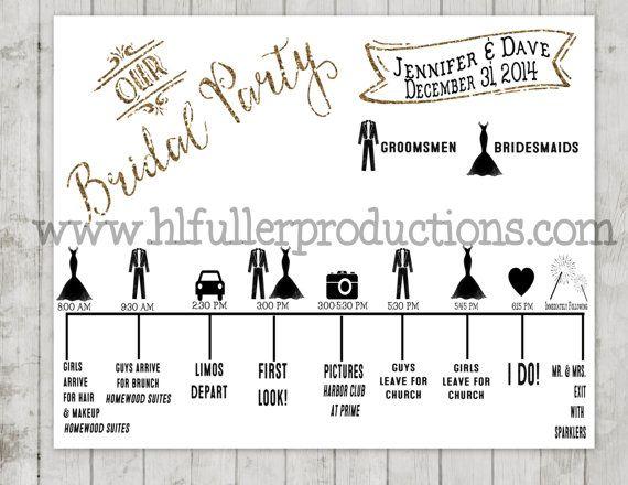 Bridal Party Timeline Bridal Party Wedding Timeline Event