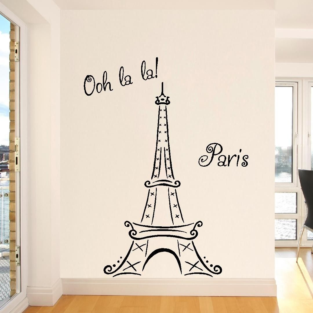 Eiffel Tower Ooh La La Paris 6ft Tall Wall Decal Vinyl Lettering 72x41.  $28.99,